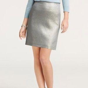 Ann Taylor Silk Silver Metallic Pencil Skirt